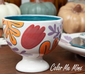 Delray Beach Floral Pedestal Bowl